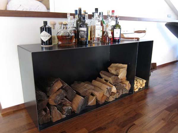 Mobile in ferro porta legna mancabelli craft and design for Cassa porta legna
