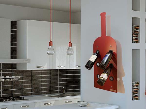 Portabottiglie negroamaro mancabelli craft and design - Portabottiglie a parete ...