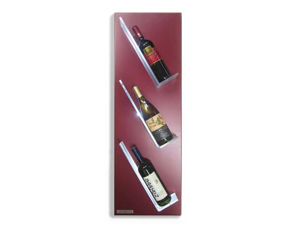portabottiglie da parete in ferro verniciato con ripiani illuminati1