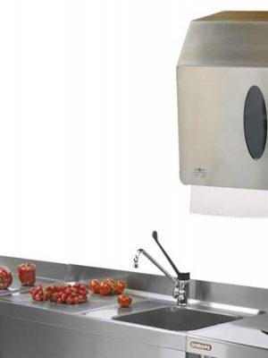 dispenser portarotoli carta in acciaio inox