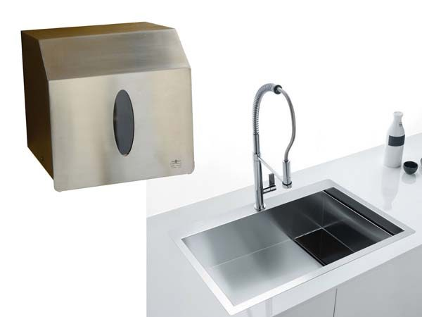 dispenser portarotoli carta in acciaio inox 1