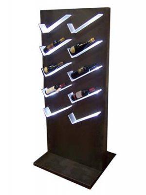 portabottiglie in ferro con ripiani illuminati