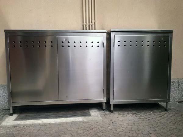 armadio in acciaio inox contatore acqua e gas areato