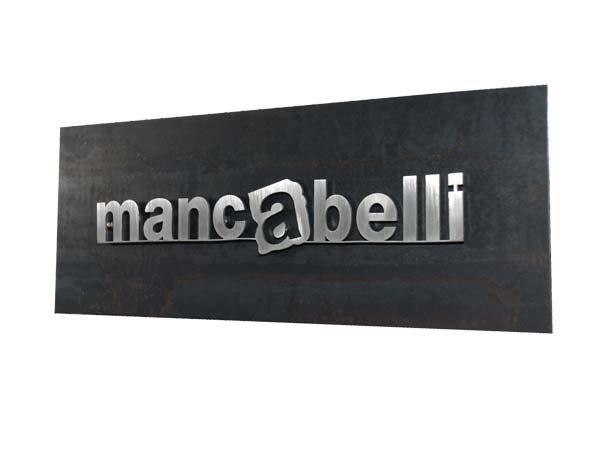 targa in ferro naturale con lettere in acciaio inox