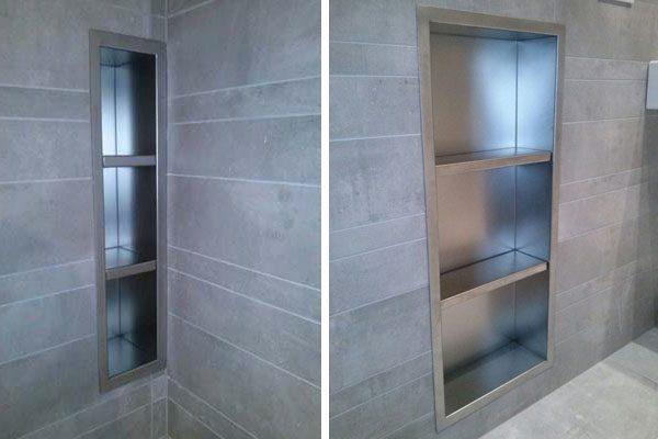 Nicchia in acciaio inox per doccia